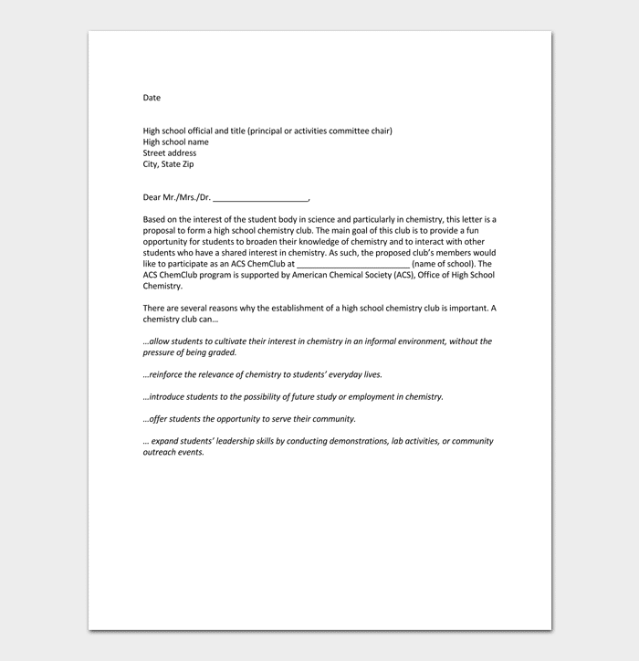 Proposal Letter For School Activity 1