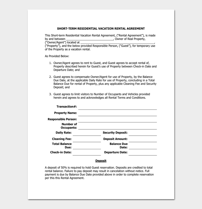 Rental Agreement Template - 5+ Fillable for Word Doc, PDF Format