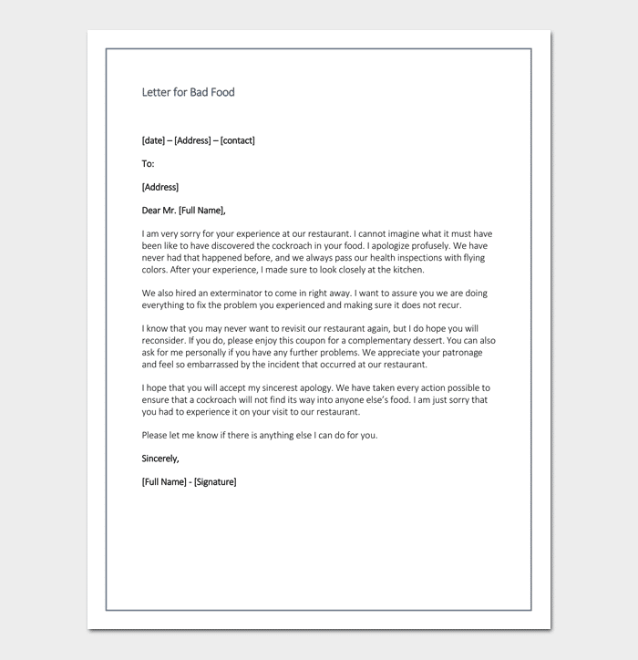 Restaurant apology letter to customers 4 samples formats restaurant apology letter for bad food expocarfo Choice Image