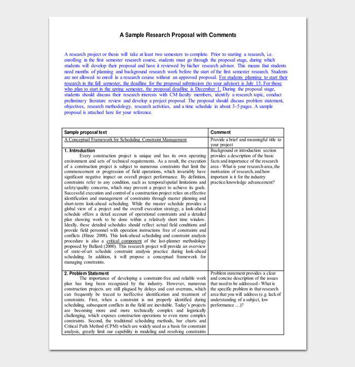 Sample Research Proposal Outline 1