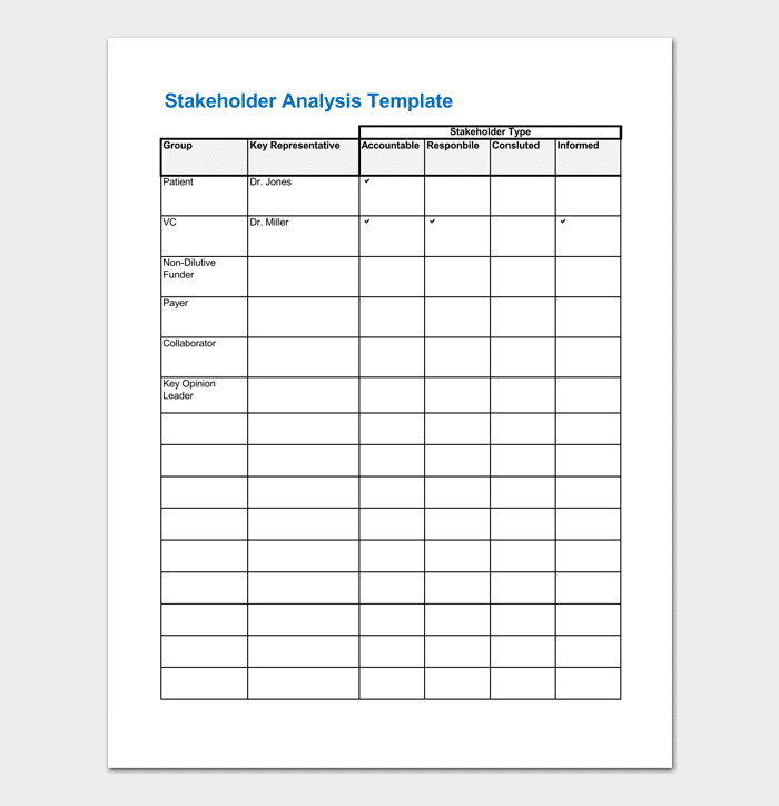 Stakeholder Analysis Template in Excel