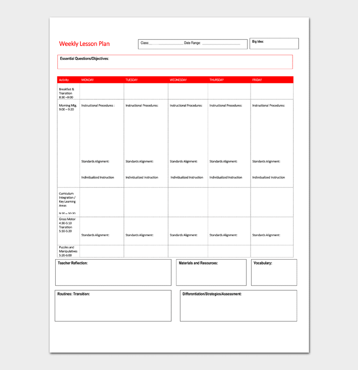 Lesson Plan Template 5 Daily Weekly Monthly For Word Doc Pdf