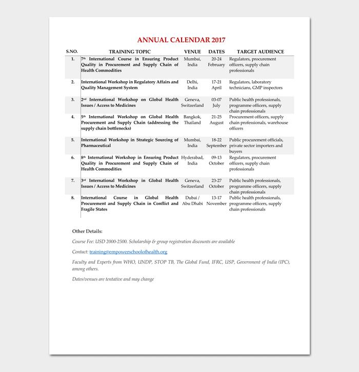 Training Calendar Template 4 Samples Formats