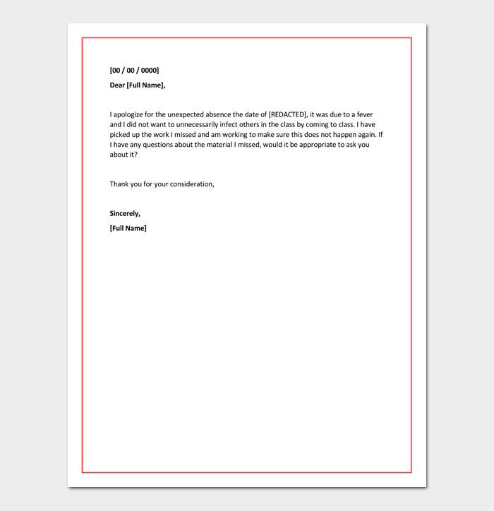 Apology Letter for Being Absent in School Sample Format – Apology Letter to School