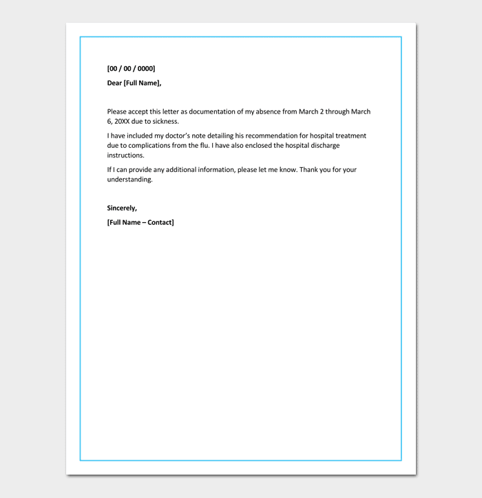 apology letter for absence from work due to illness