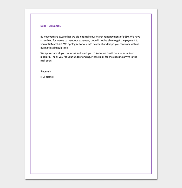 Apology Letter for Late Payment of Rent