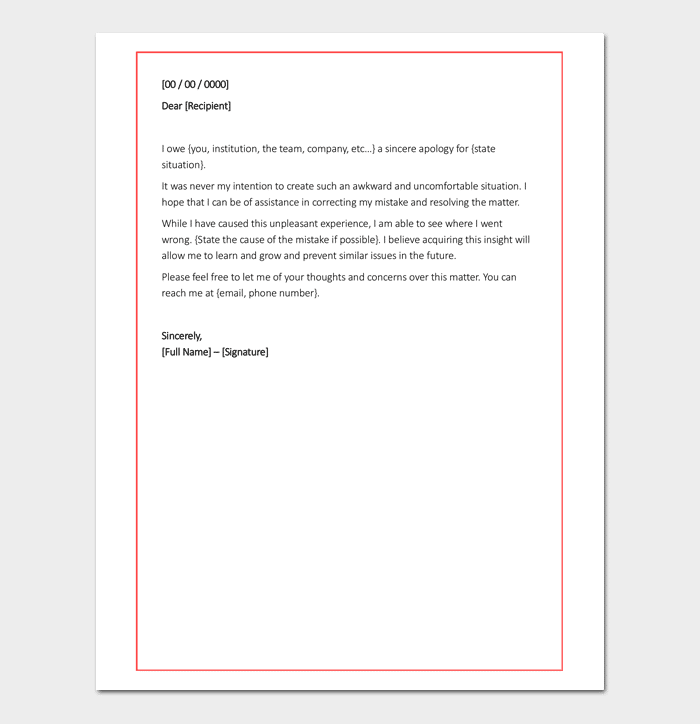 Apology Letter For Mistake - 5+ Samples, Examples & Formats