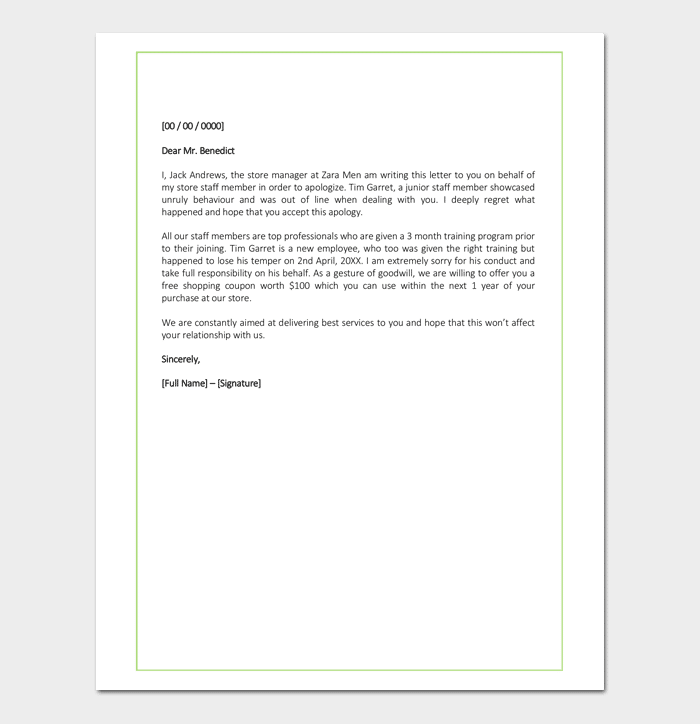 Apology Letter for Mistake to Client