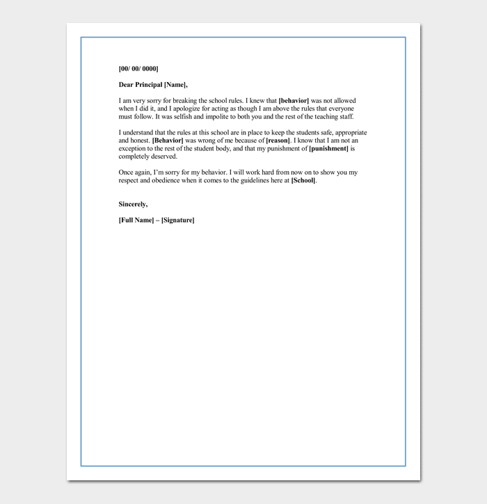 Apology Letter for Mistake to Principal