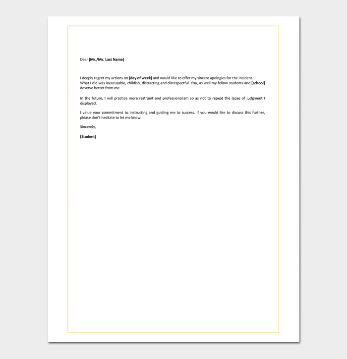 Apology Letter for Mistake to Teacher