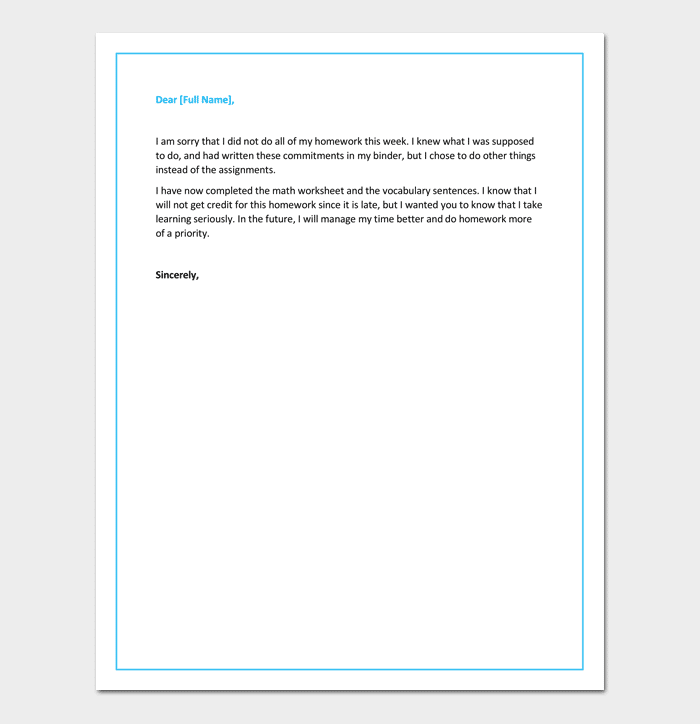 Apology letter to teacher 5 useful samples examples formats apology letter to teacher for not doing homework spiritdancerdesigns Gallery