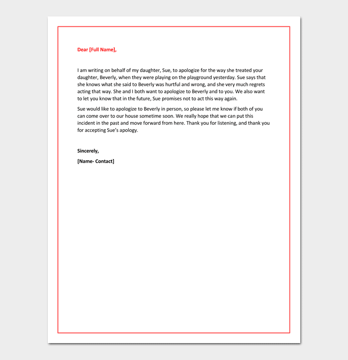 Apology Letter To Teacher 5 Useful Samples Examples