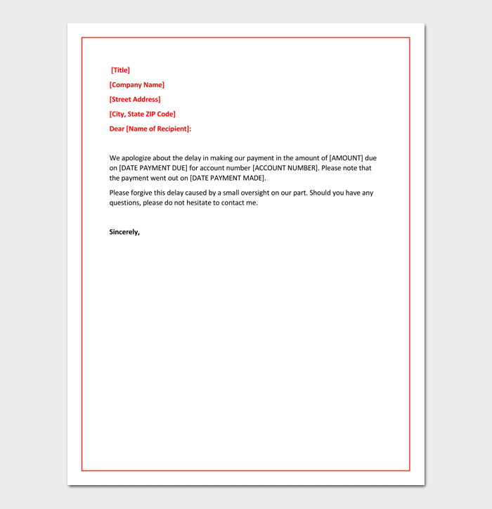 Business Apology Letter for Delay in Payment