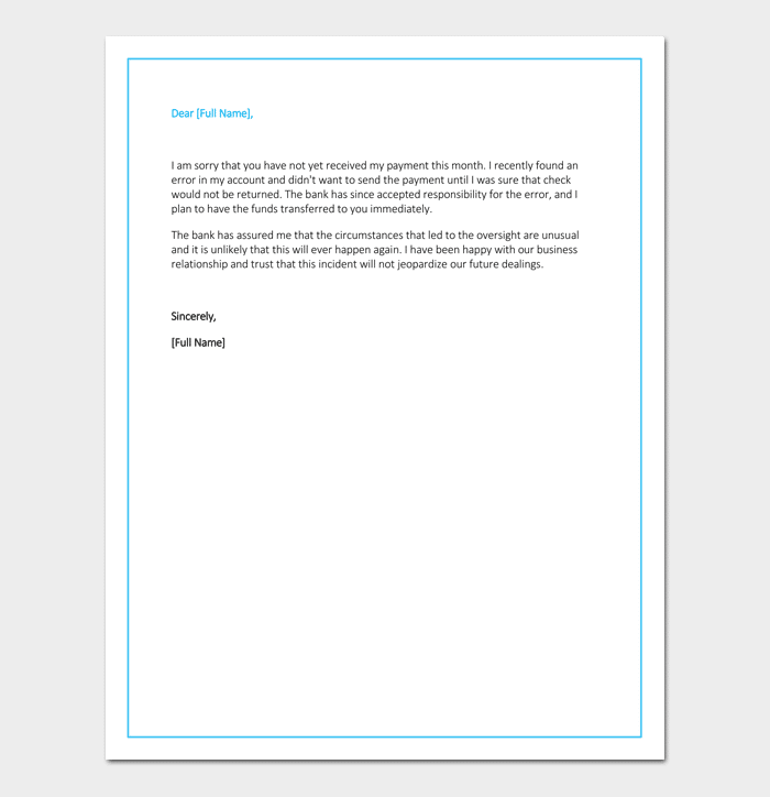 Apology Letter for Late Payment 4 Samples Examples Formats