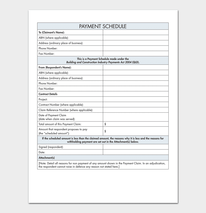 Payment schedule template 5 for word excel pdf for Construction disbursement schedule