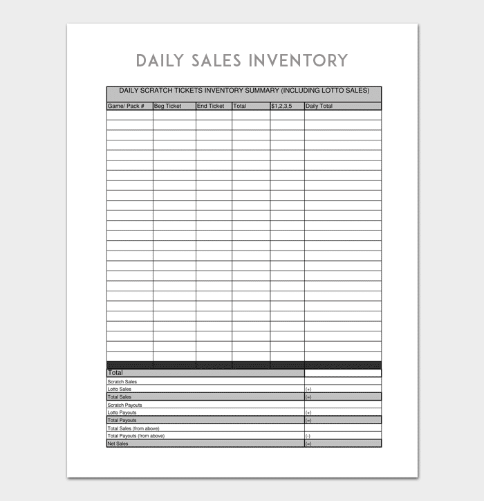 daily inventory template 6 for word excel