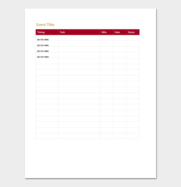 Event Action Plan Template For Excel