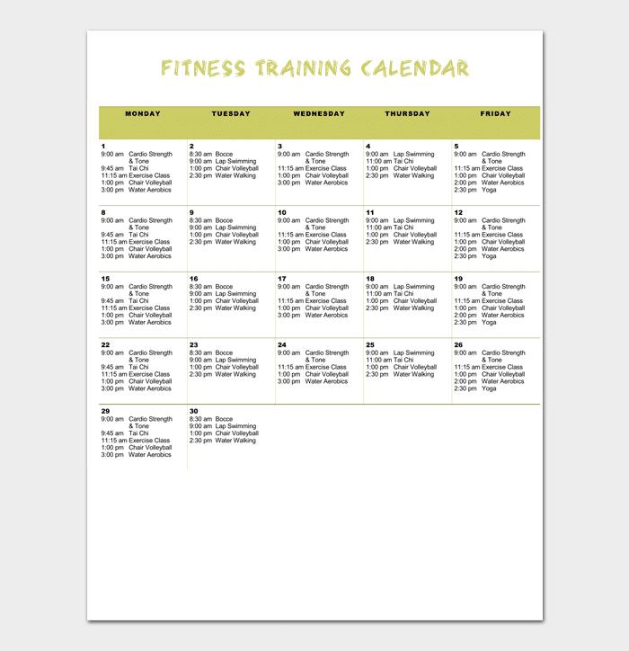 Fitness Training Calendar 1
