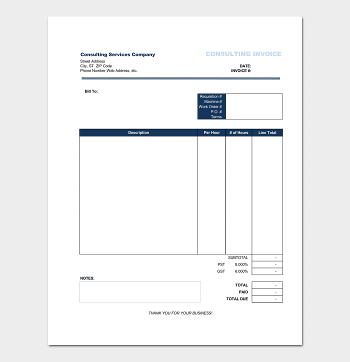Consultant Invoice Template For Word Excel PDF - Work hours invoice template