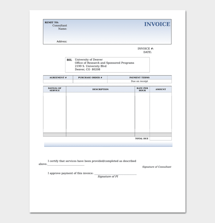 Consultant Invoice Template For Word Excel Pdf