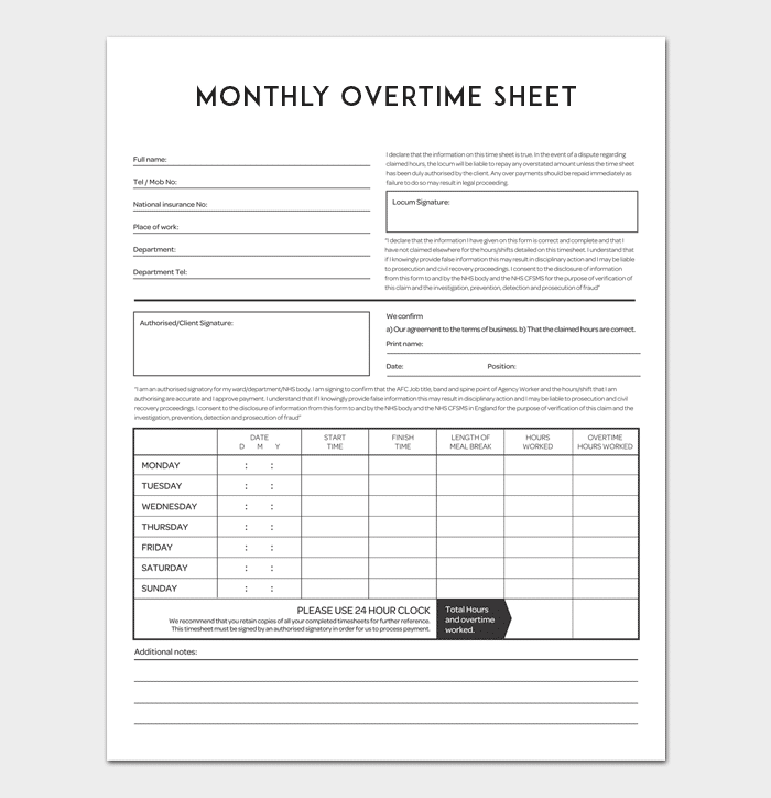 Overtime Sheet Template - 5+ For Word, Excel & PDF Format