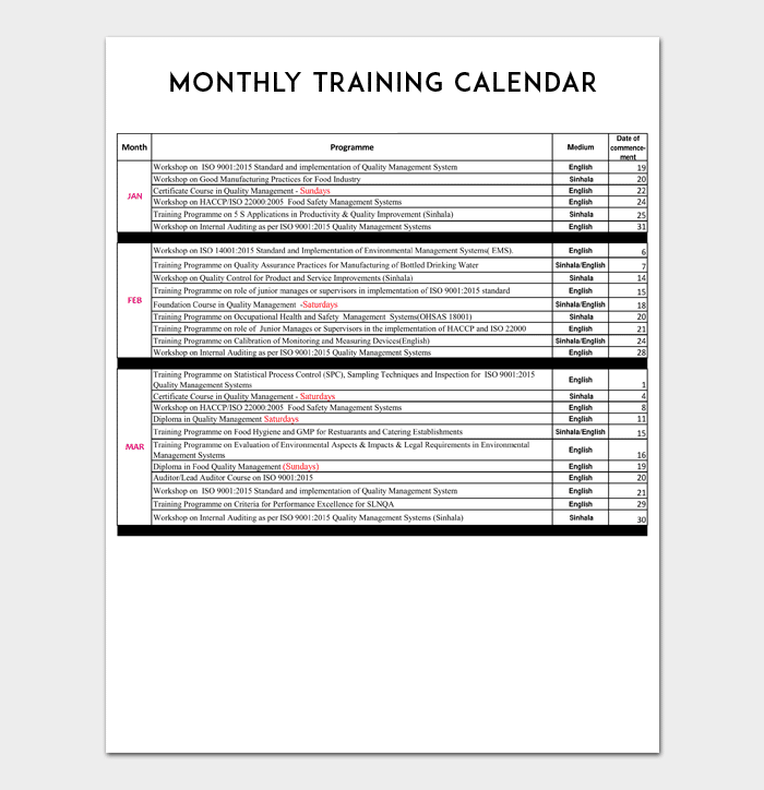 training calendar template 4 samples formats