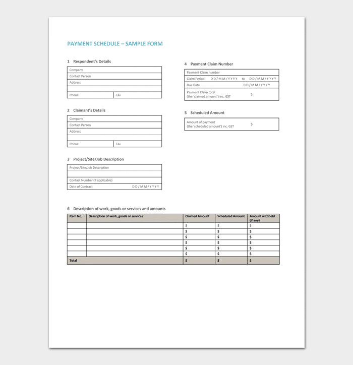 Project Payment Schedule Template 1