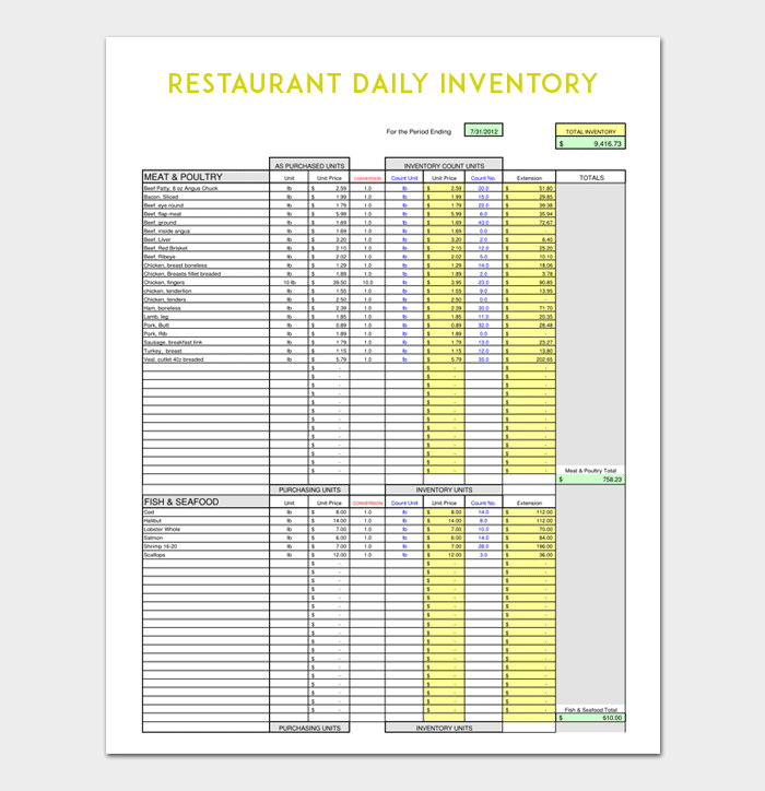 Restaurant Daily Inventory Template  Inventory Template