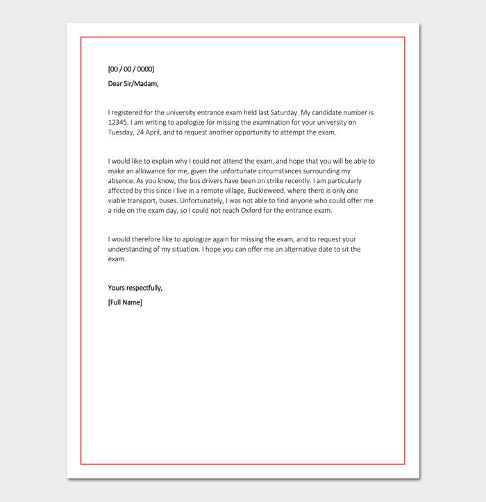Sample Apology Letter To Principal For Absence