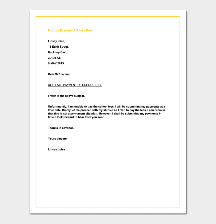 Sample Letter for Late Payment of School Fees
