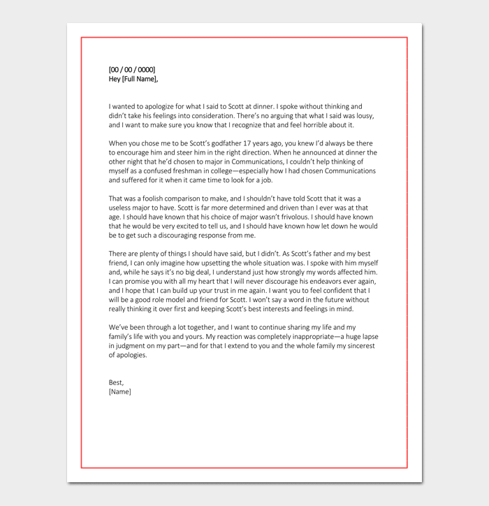 Personal Apology Letter Useful Samples Examples