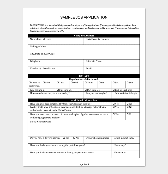 Job Application Form 4 Samples Examples Formats