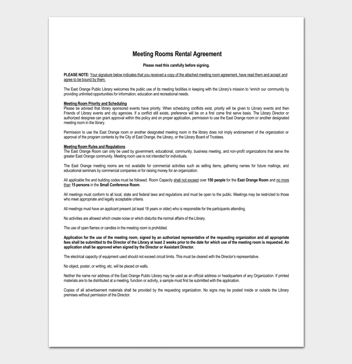 Room Rental Agreement - 7+ Sample Docs for Word & PDF