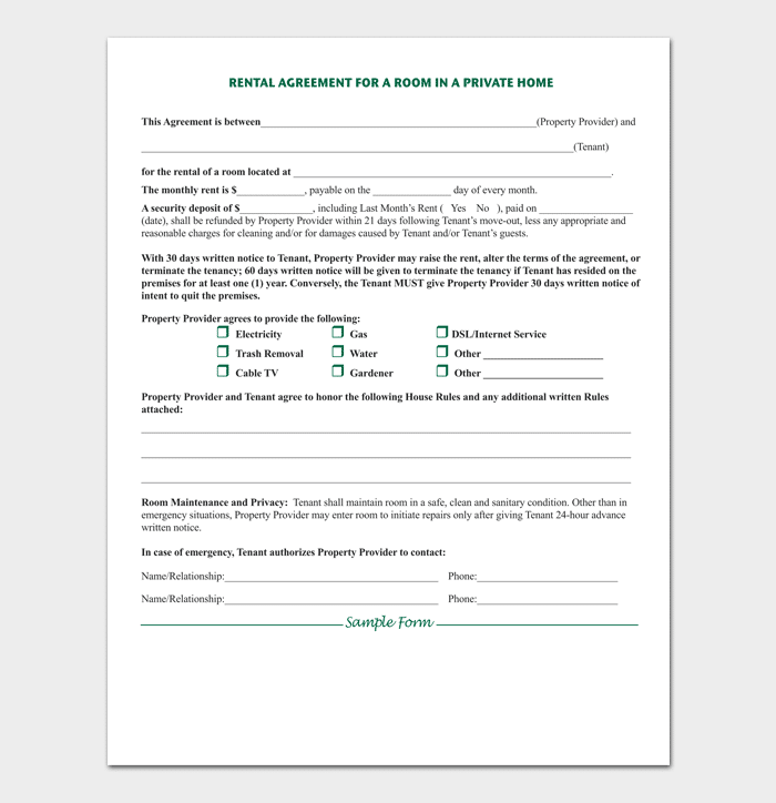 Room Rental Agreement 7 Sample Docs For Word Pdf
