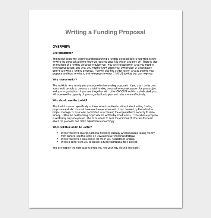 Sample Project Proposal for Funding 1