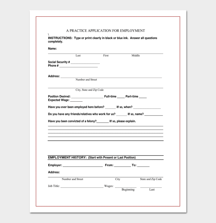 Standard Job Application Form 1