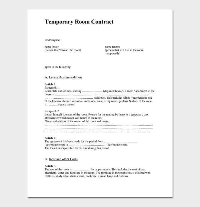 Temporary Room Rental Agreement 1