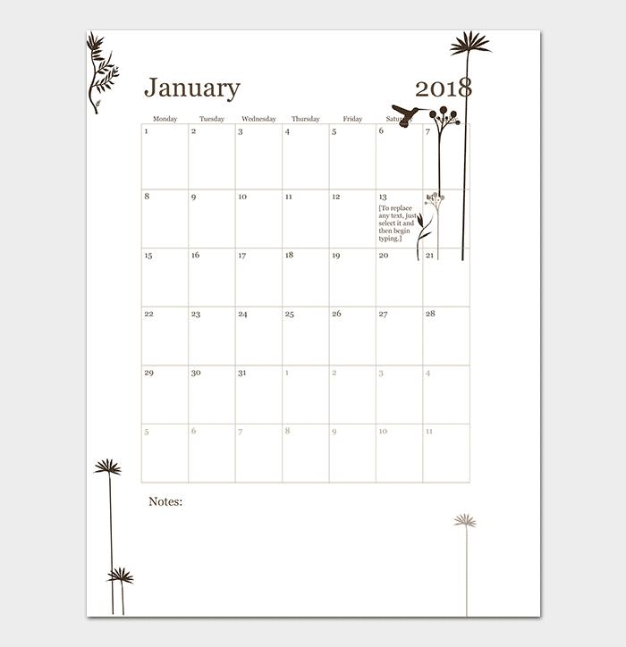 12 Months Calendar for Word