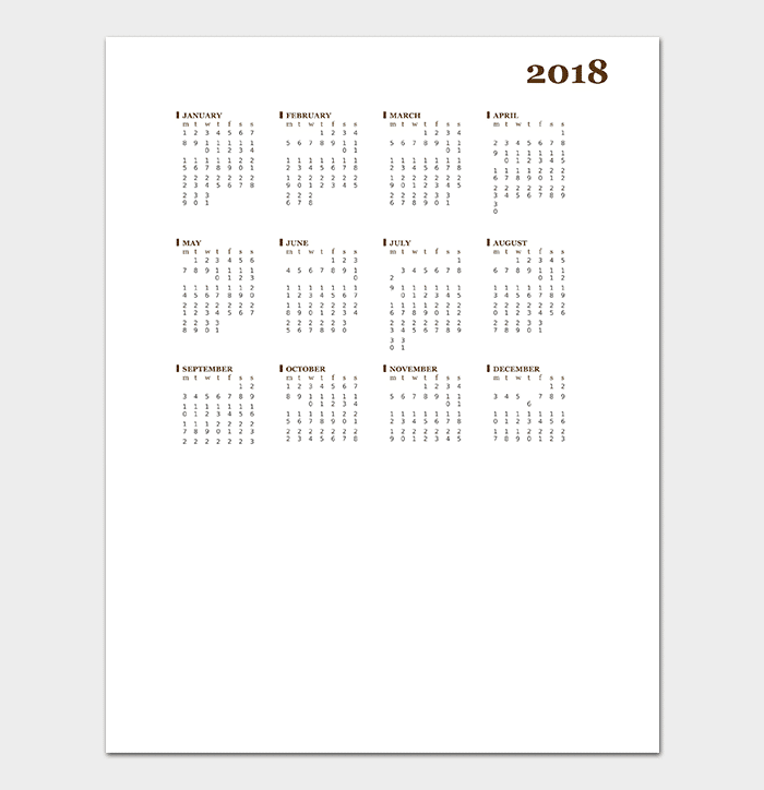 2018 Calendar Template (for Word)