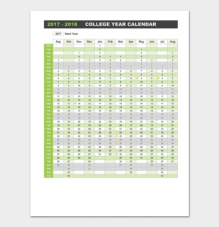 2018 College Yearly Planner Calendar