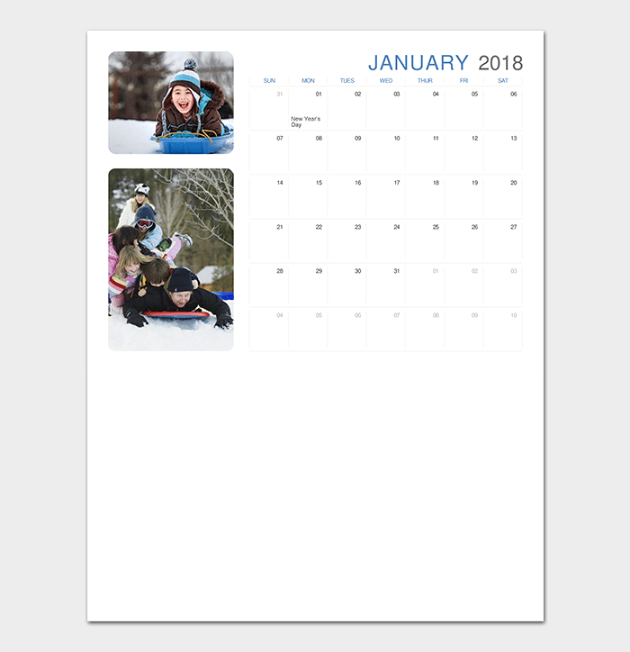 2018 Photo Calendar for PowerPoint