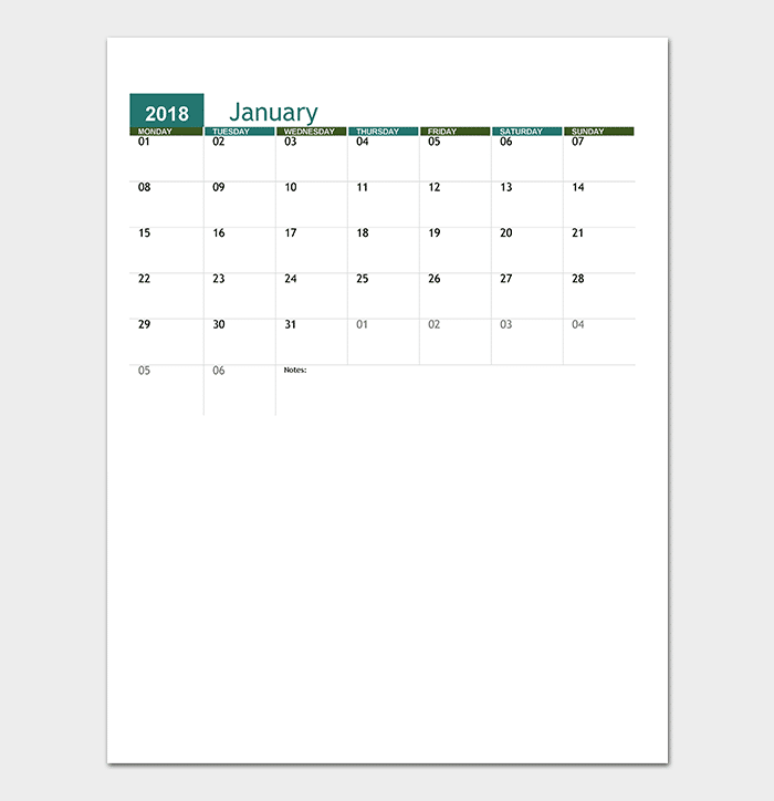 Academic Calendar for Excel (Any Year)