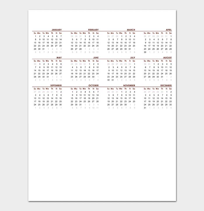 Blank Global Calendar