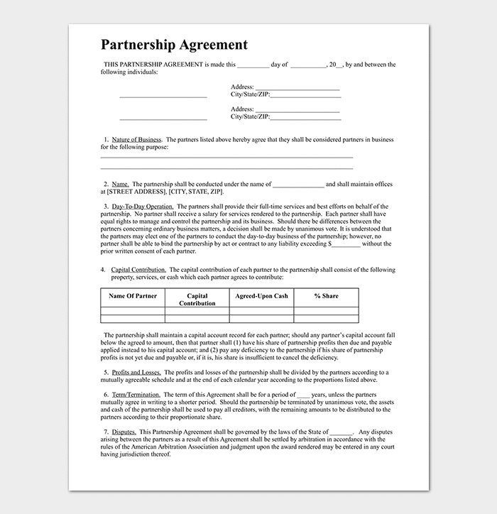 Partnership agreement template 12 agreements for word doc pdf business partnership agreement template flashek