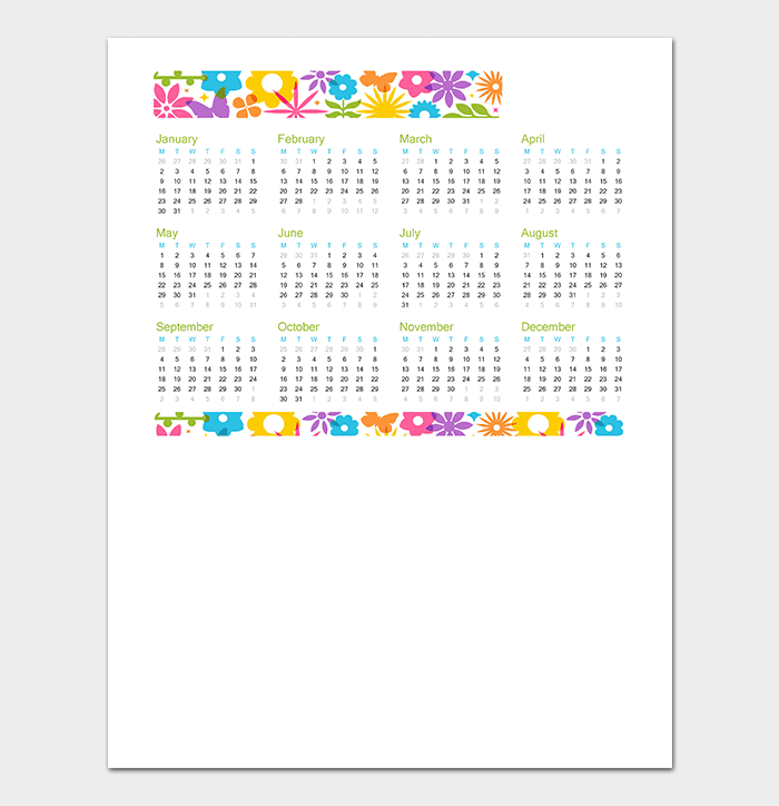 40  free printable calendar templates  for word