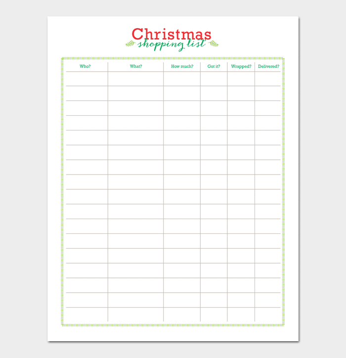 Christmas Gift List template 1