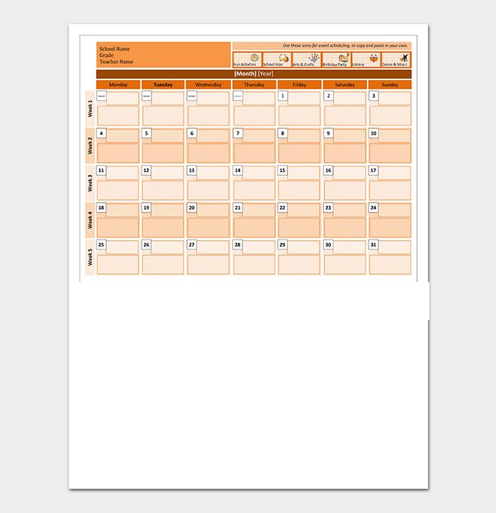 Class Calendar for Word
