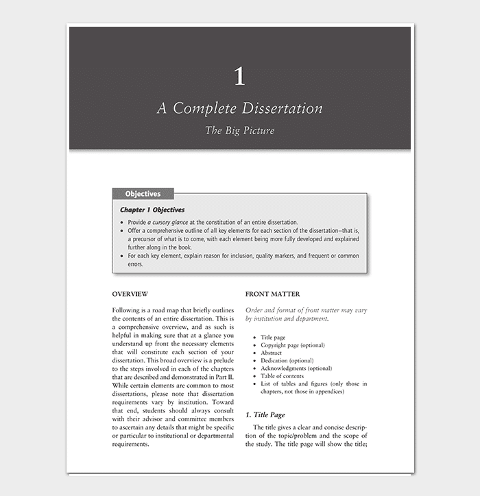 Complete Dissertation Outline Template Example