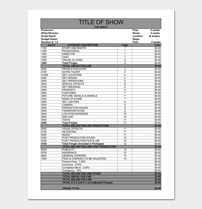 Film Budget Template - 10+ For Excel Sheet & PDF Format