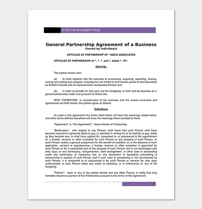 Partnership agreement template 12 agreements for word doc pdf individual business agreement template accmission Image collections